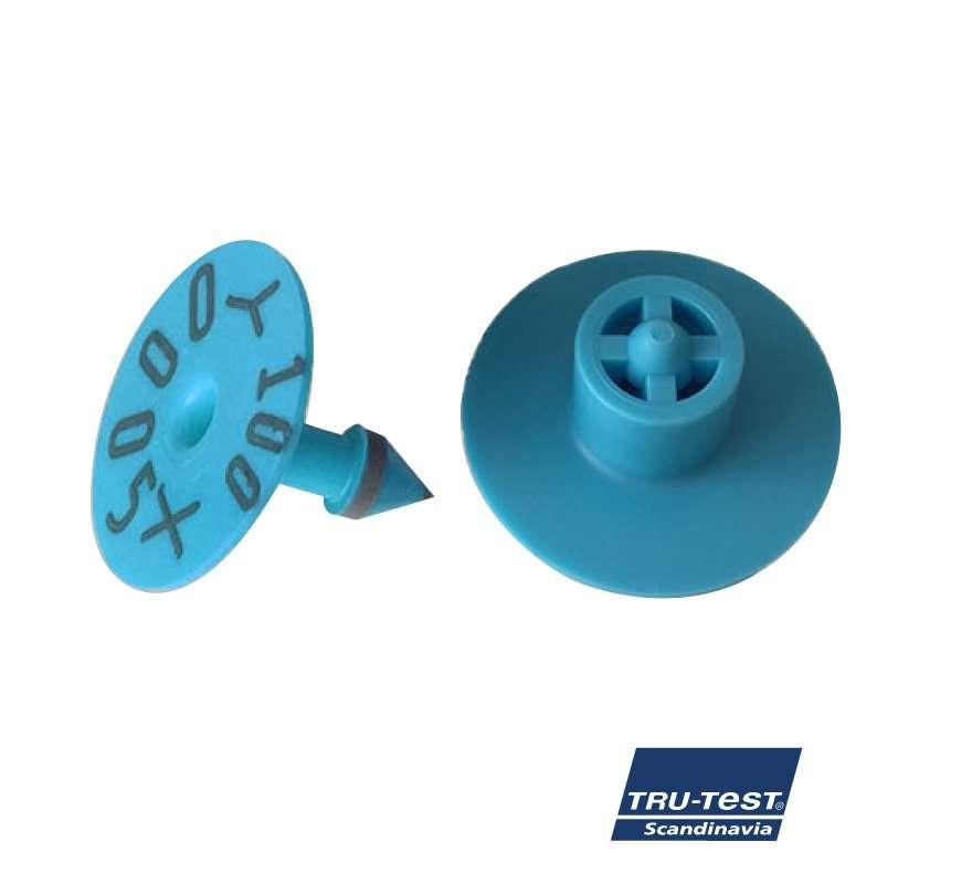 Livstids øremærke m. skarp spids/skærekant og print (blå)
