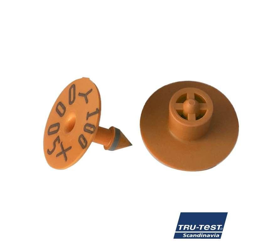 Livstids øremærke m. skarp spids/skærekant og print (orange)